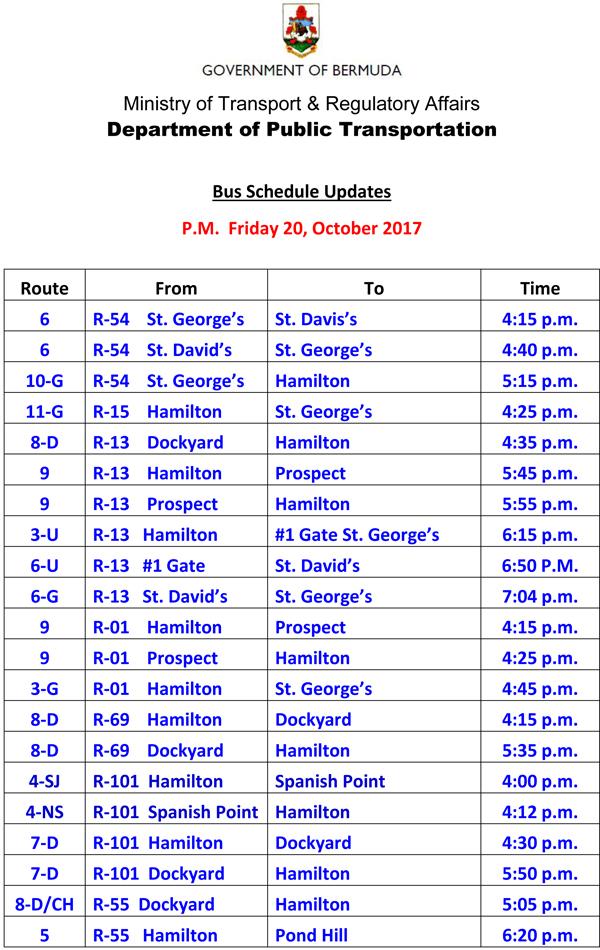 Bus Schedule Updates Friday 20-October-2017-1