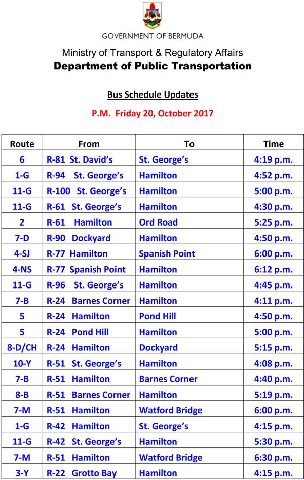 Bus Schedule Updates Friday 20-October-2017-2