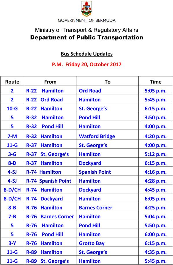 Bus Schedule Updates Friday 20-October-2017-3