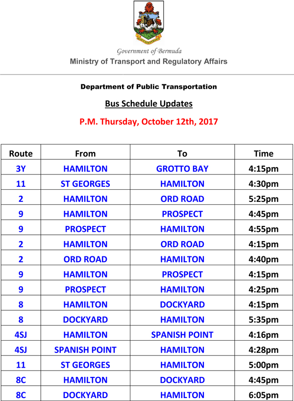 Bus Schedule Updates List for October 12th, 2017