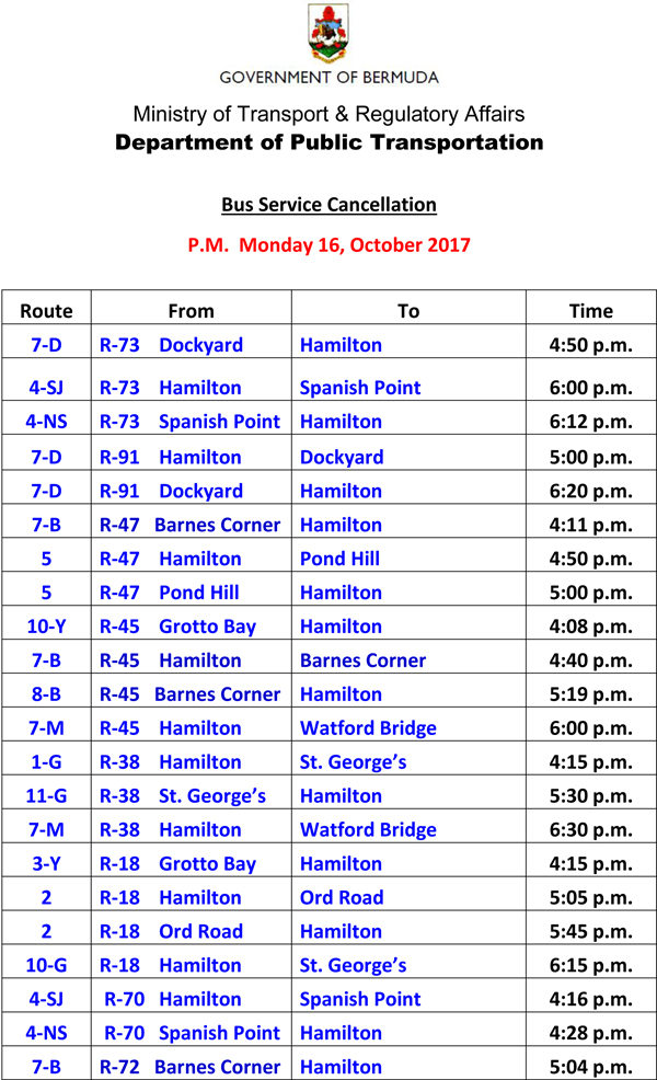 Bus Schedule Updates Monday 16-10-2017-2
