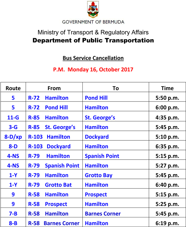 Bus Schedule Updates Monday 16-10-2017-3