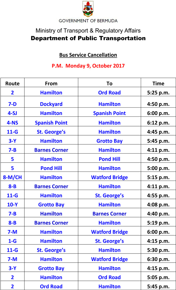 Bus Schedule Updates Monday 9-10-2017-2