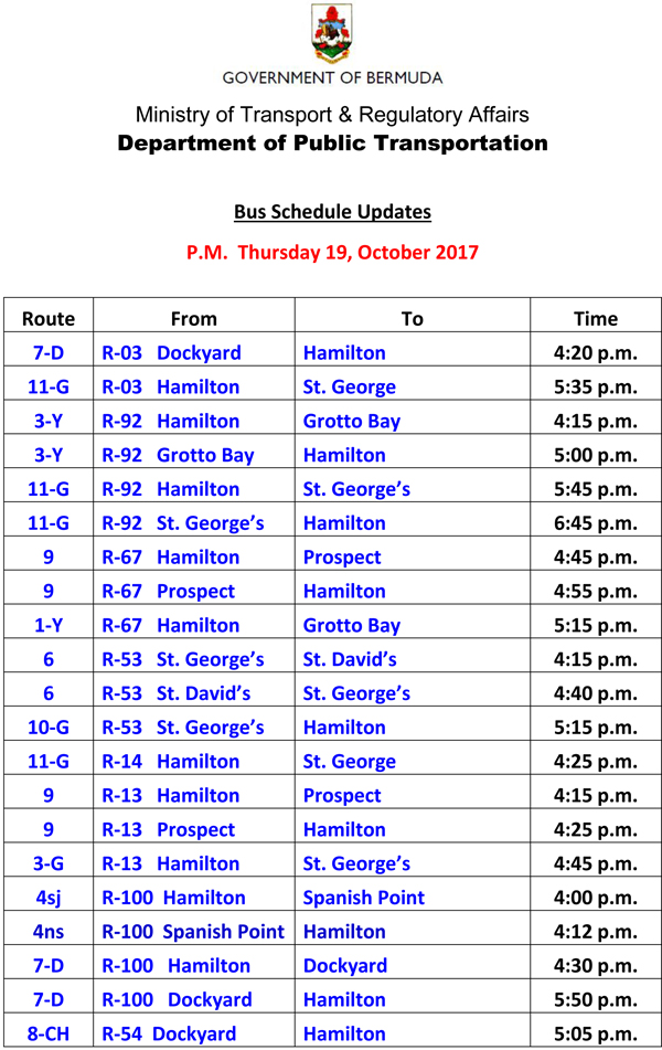 Bus Schedule Updates Thursday 19-October -2017-1