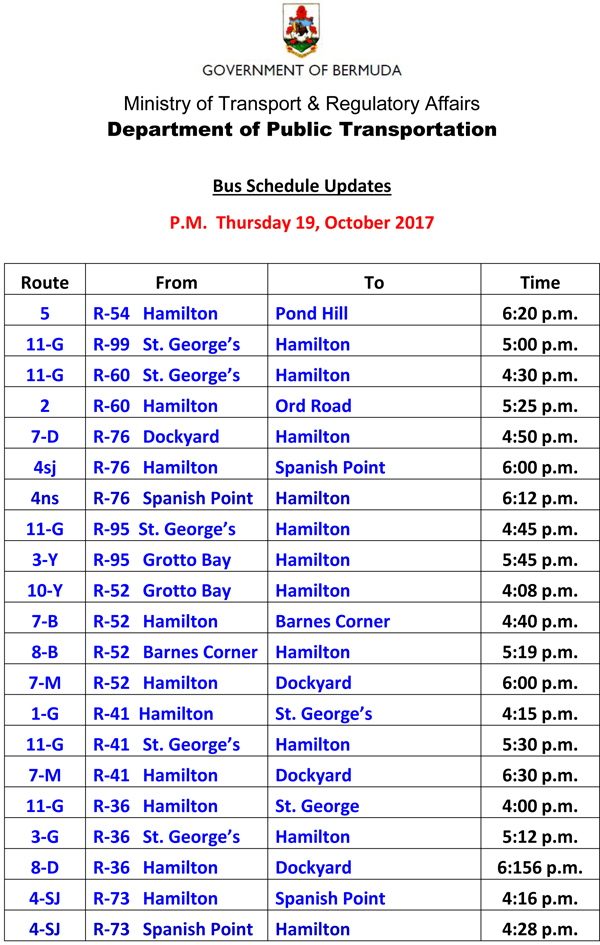 Bus Schedule Updates Thursday 19-October -2017-2