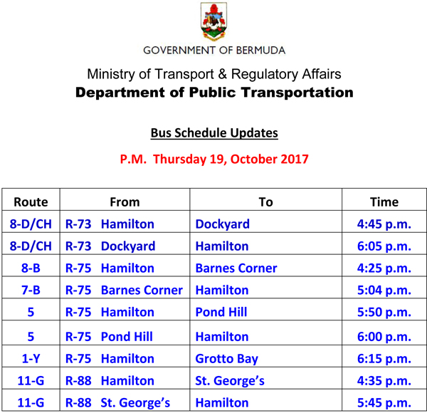 Bus Schedule Updates Thursday 19-October -2017-3