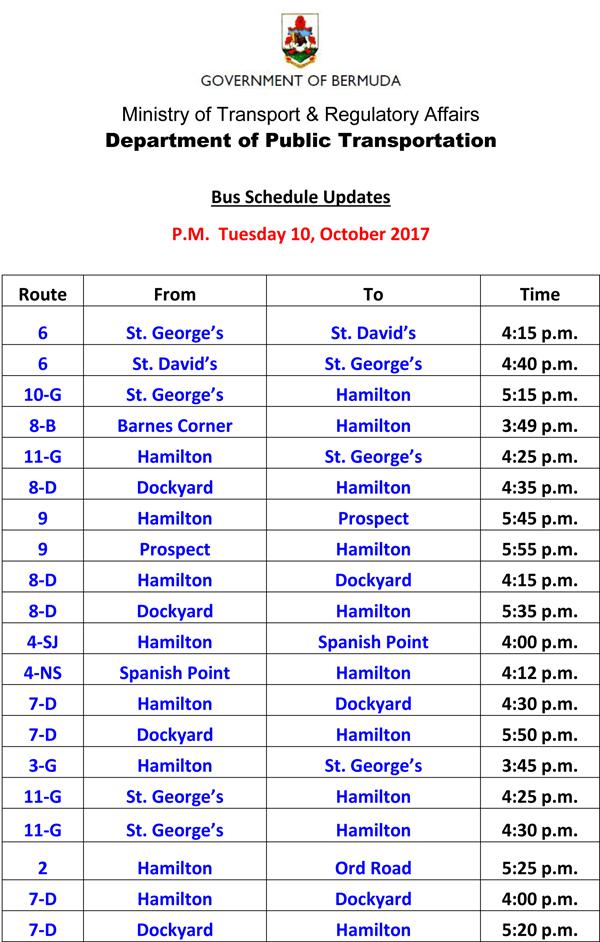 Bus Schedule Updates Tuesday 10-10-2017-1
