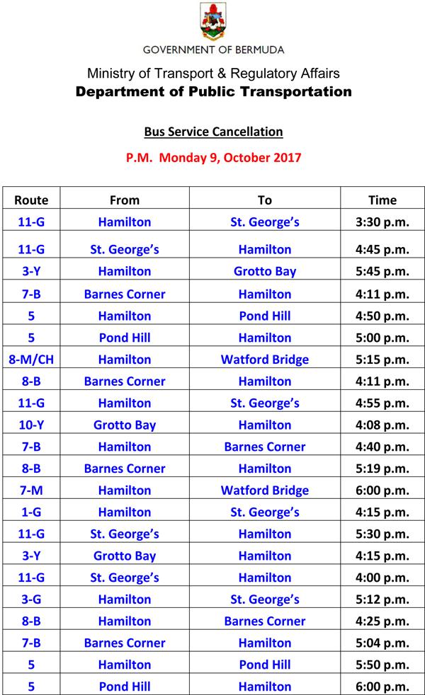 Bus Schedule Updates Tuesday 10-10-2017-2