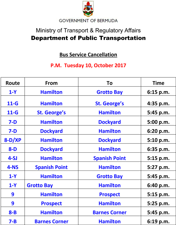 Bus Schedule Updates Tuesday 10-10-2017-3