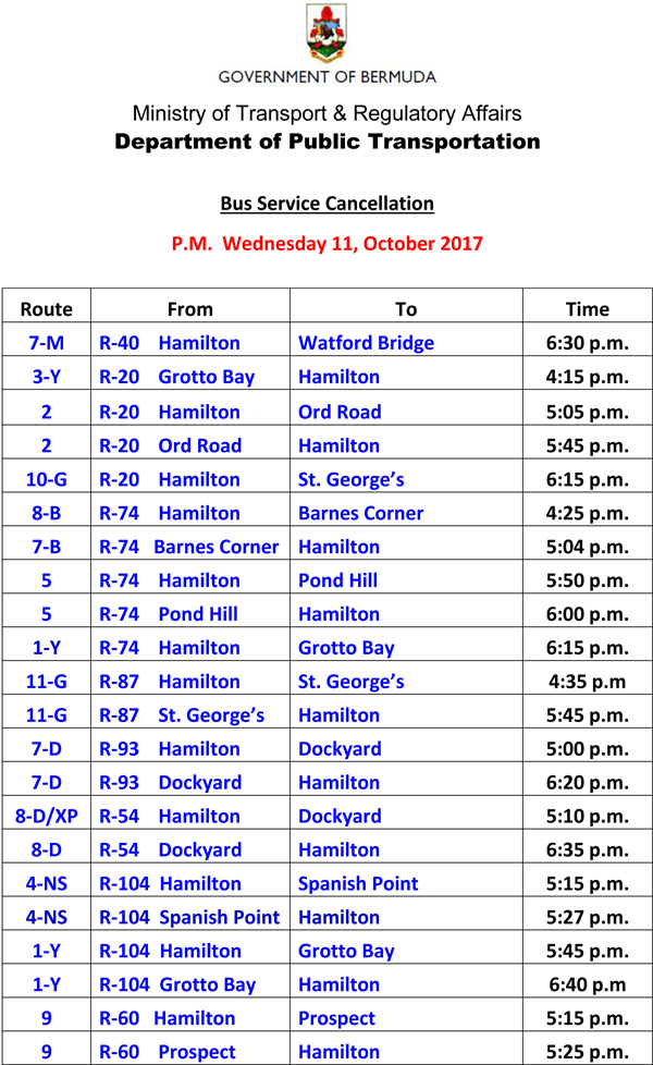 Bus Schedule Updates Wednesday 11 10 2017 (2)