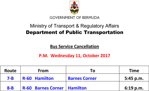 Bus Schedule Updates Wednesday 11 10 2017 (3)