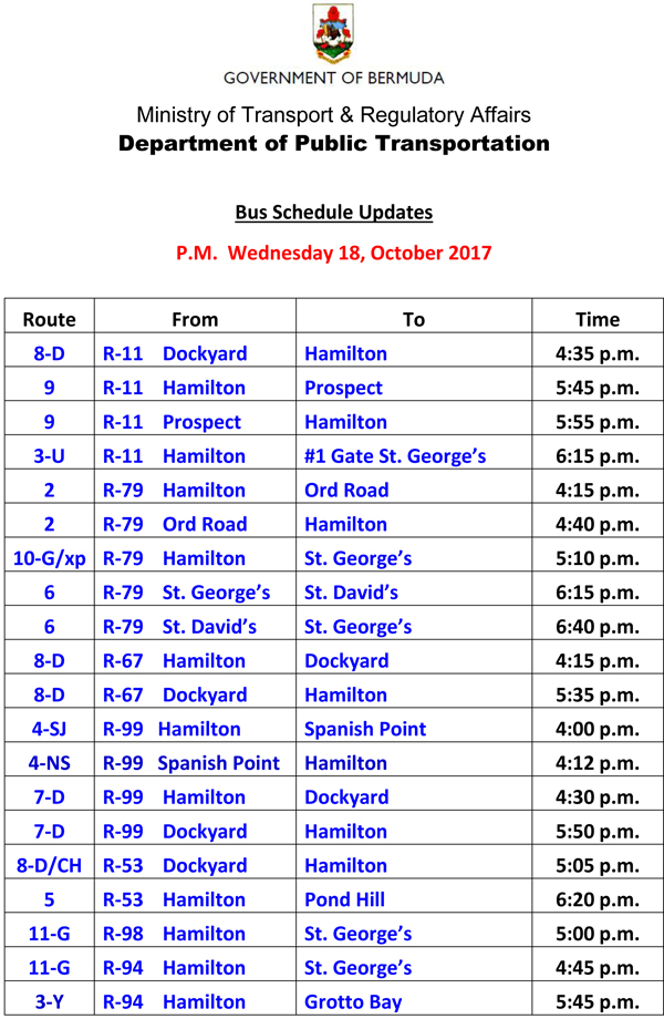 Bus Schedule Updates Wednesday 18-October -2017-1
