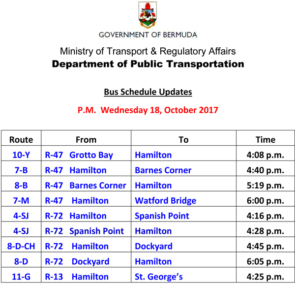 Bus Schedule Updates Wednesday 18-October -2017-2