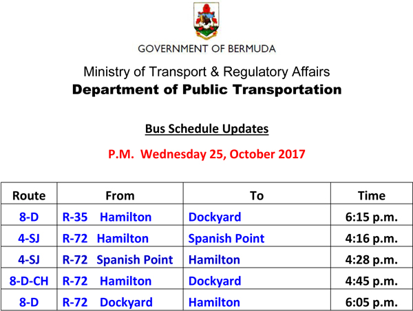 Bus Schedule Updates Wednesday 25-October-2017-2