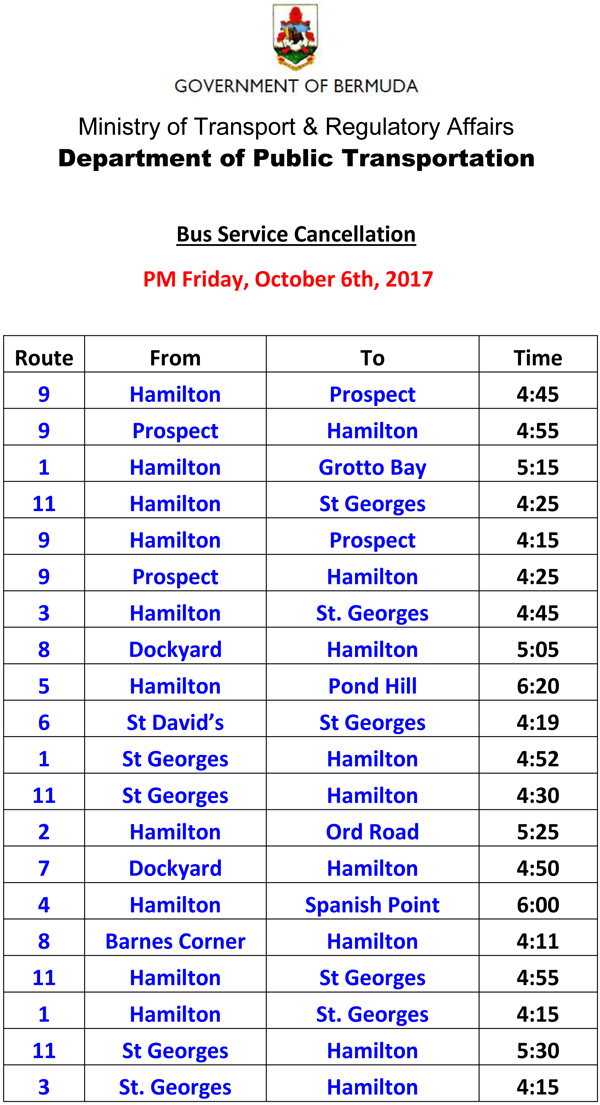 Bus Service Cancellation PM Friday October 6-1