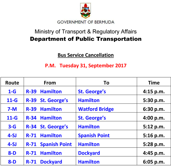Bus Service Cancellation Tuesday 31-10-2017-2