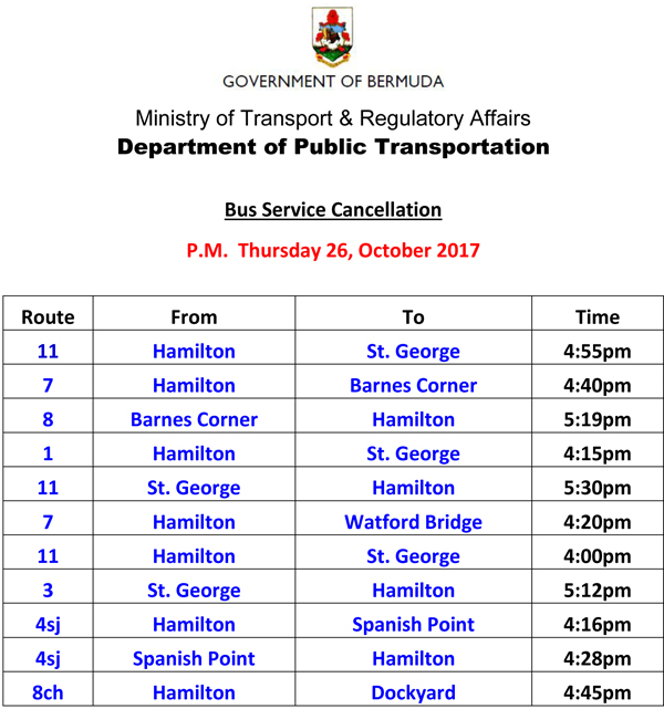 Bus Service Cancellations Thursday 26-10-2017-2