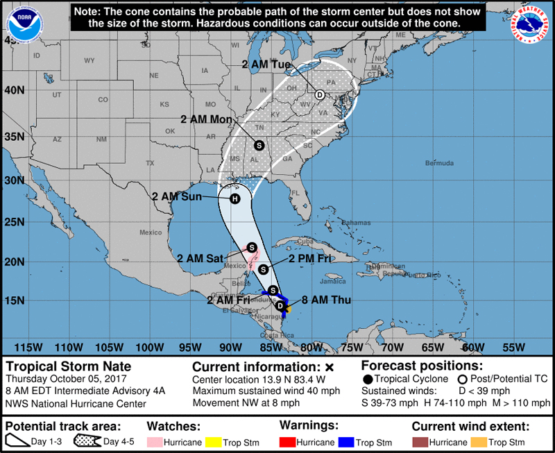 NHC Tropical Storm Nate Bermuda Oct 5 2017