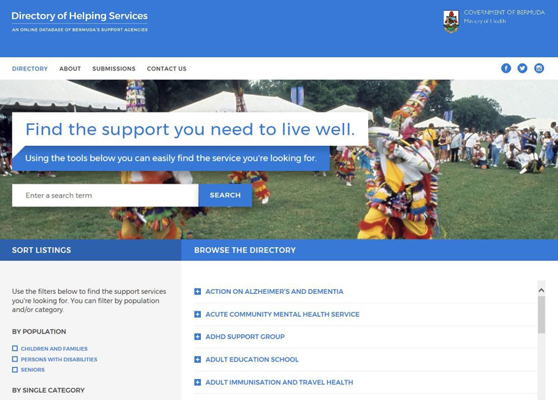 Online Directory of Helping Services Bermuda Oct 2017