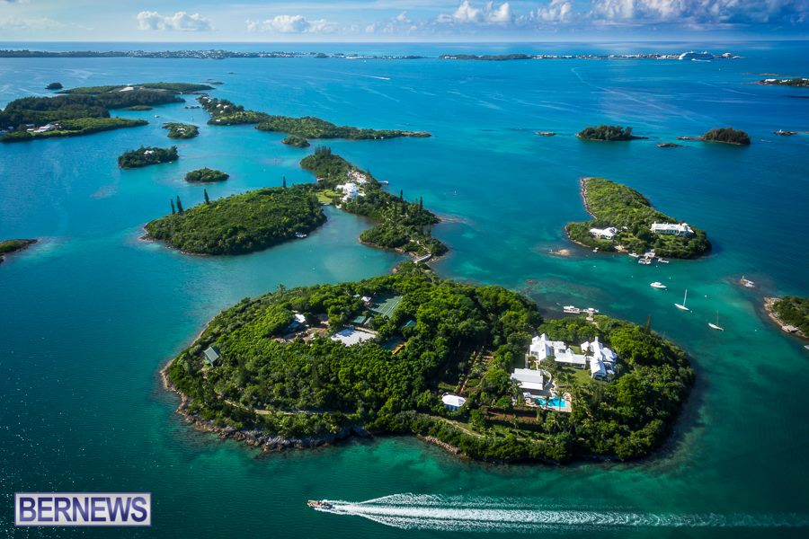 233 A drone eye view of some of the islands that are part of Bermuda's beauty, looking towards the Dockyard
