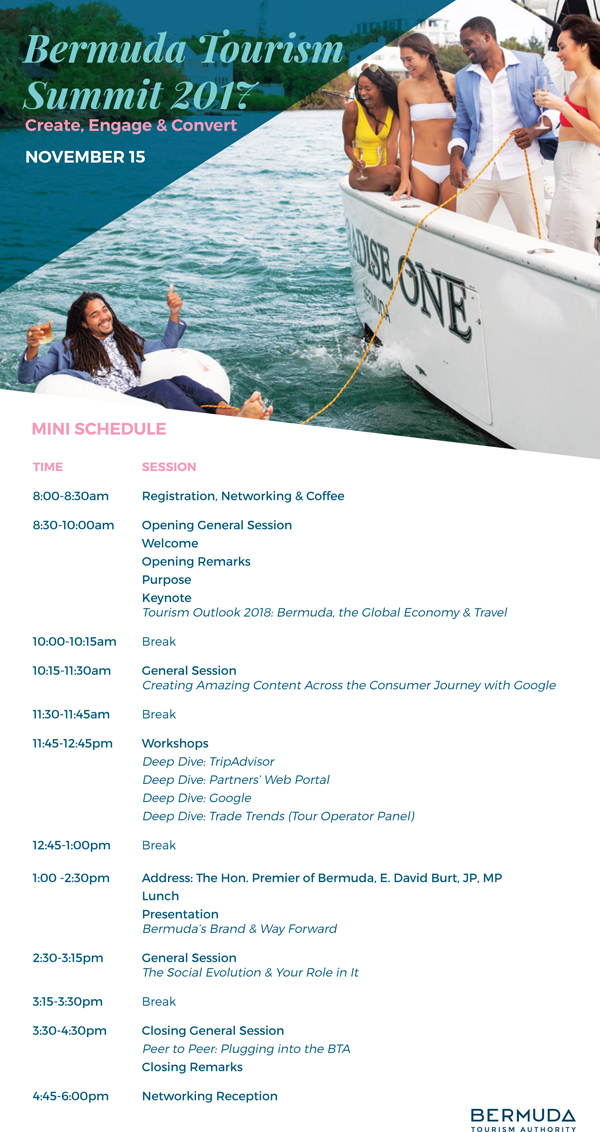 Bermuda Tourism Summit Schedule Nov 2017