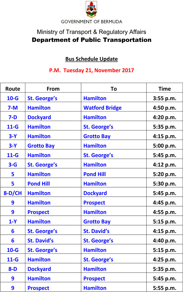 Bus Scheduel Update Tuesday 21 November 2017-1