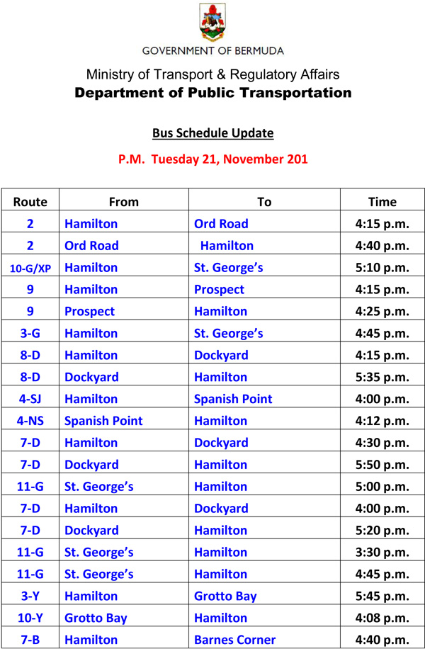 Bus Scheduel Update Tuesday 21 November 2017-2