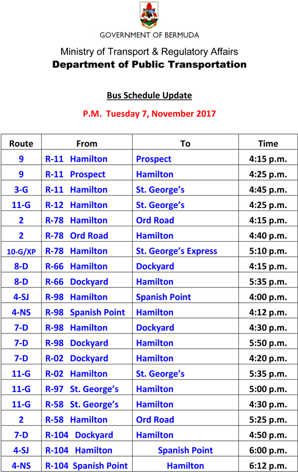 Bus Scheduel Update Tuesday 7 November 2017-1