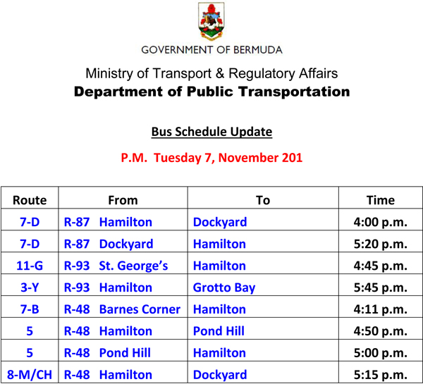 Bus Scheduel Update Tuesday 7 November 2017-2