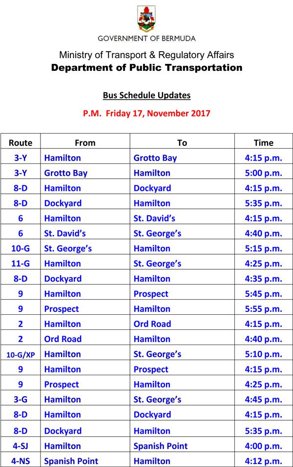 Bus Schedule Updates Friday 17-11-2017-1