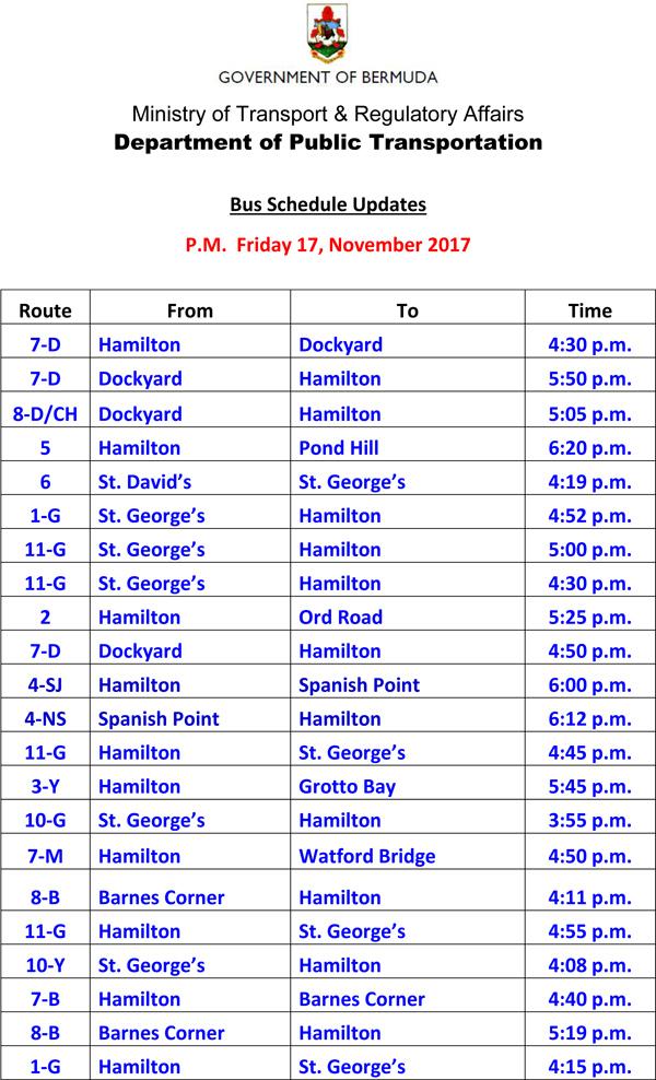 Bus Schedule Updates Friday 17-11-2017-2