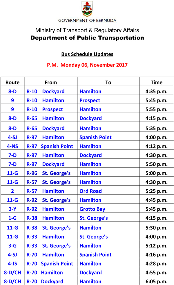 Bus Schedule Updates Monday 06-11-2017