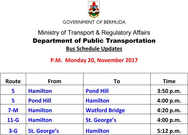 Bus Schedule Updates Monday 20-11-2017-3