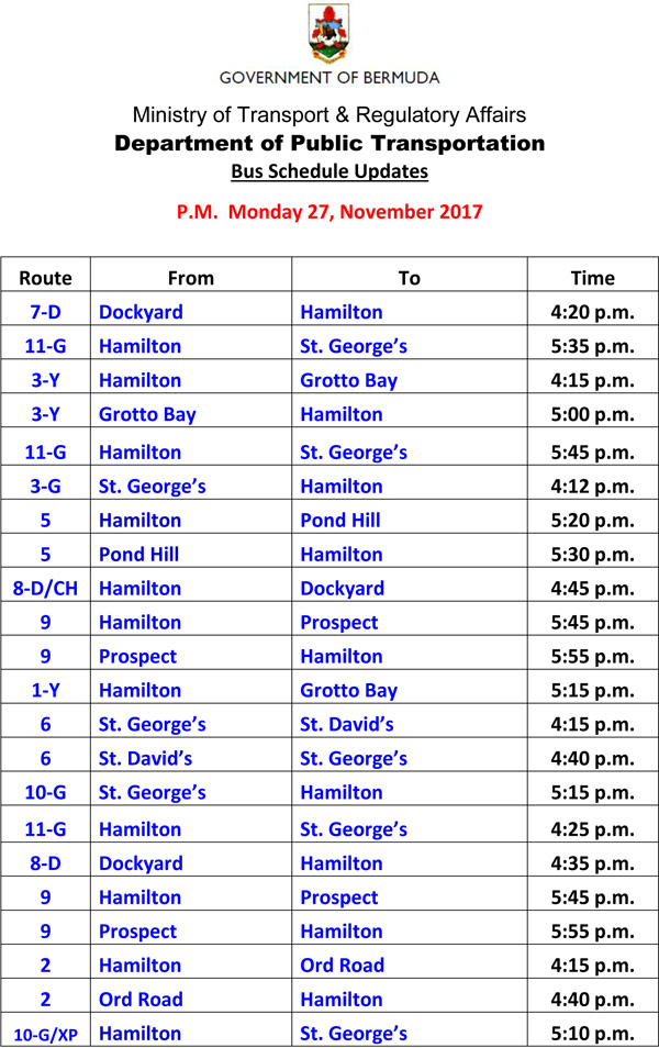 Bus Schedule Updates Monday 27-11-2017-1