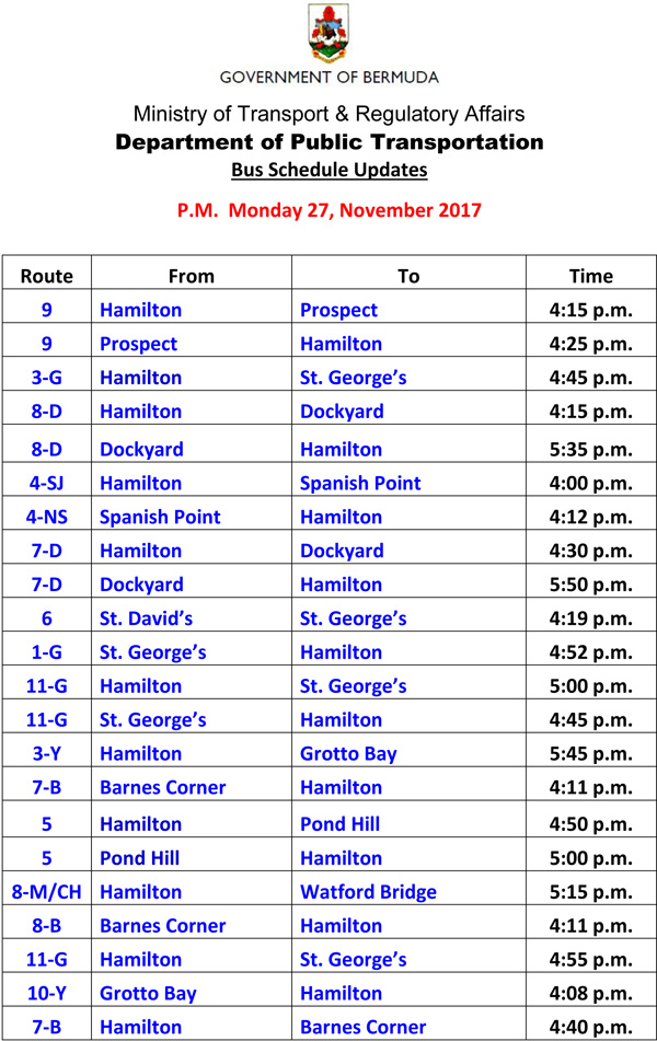 Bus Schedule Updates Monday 27-11-2017-2
