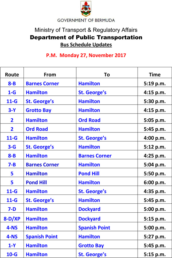 Bus Schedule Updates Monday 27-11-2017-3