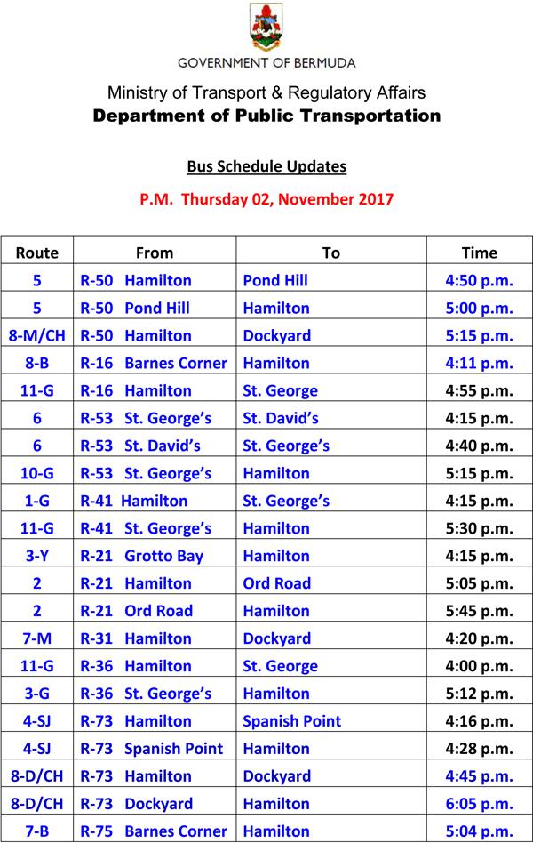 Bus Schedule Updates Thursday 02 November-2017-2