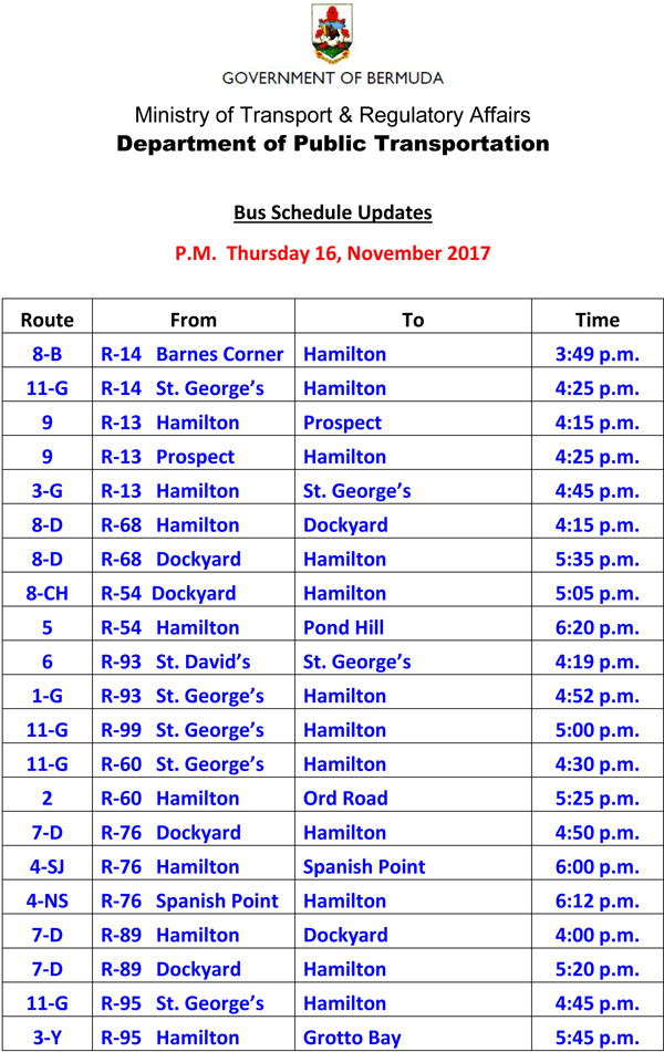 Bus Schedule Updates Thursday 16 November 2017-1