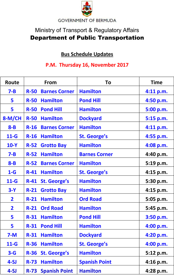 Bus Schedule Updates Thursday 16 November 2017-2