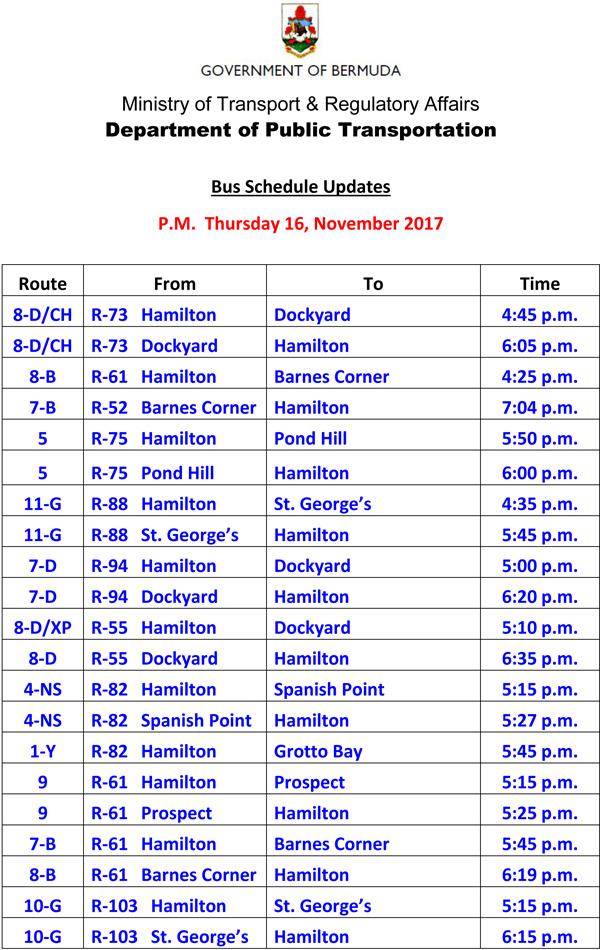 Bus Schedule Updates Thursday 16 November 2017-3