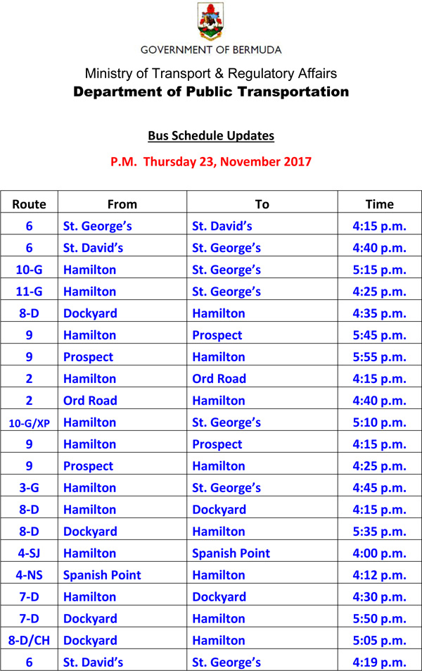 Bus Schedule Updates Thursday 23, November 2017-1