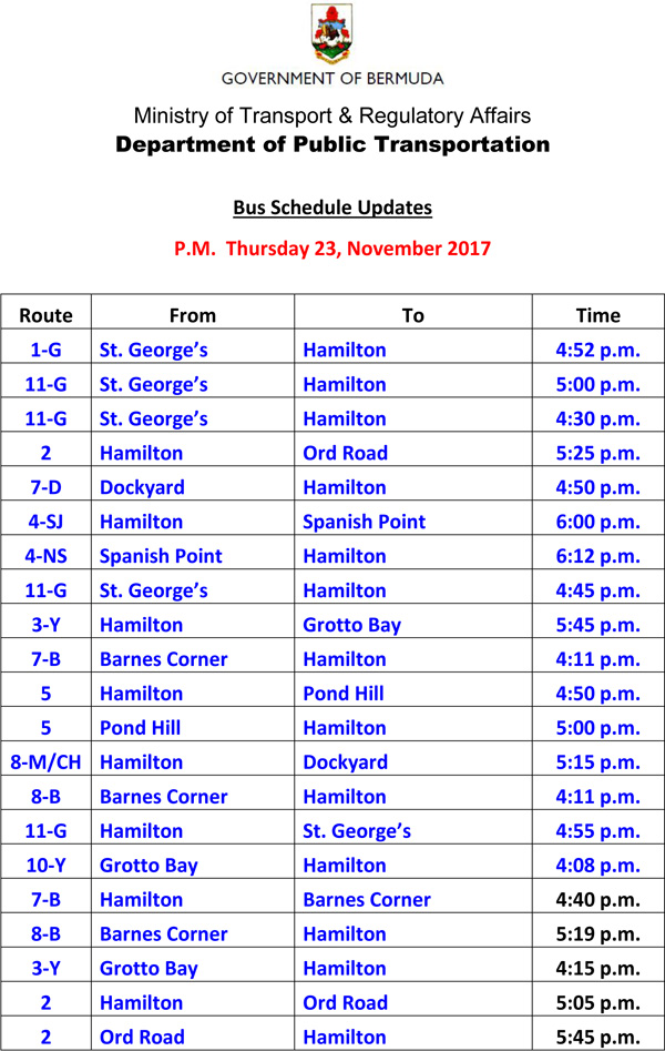 Bus Schedule Updates Thursday 23, November 2017-2
