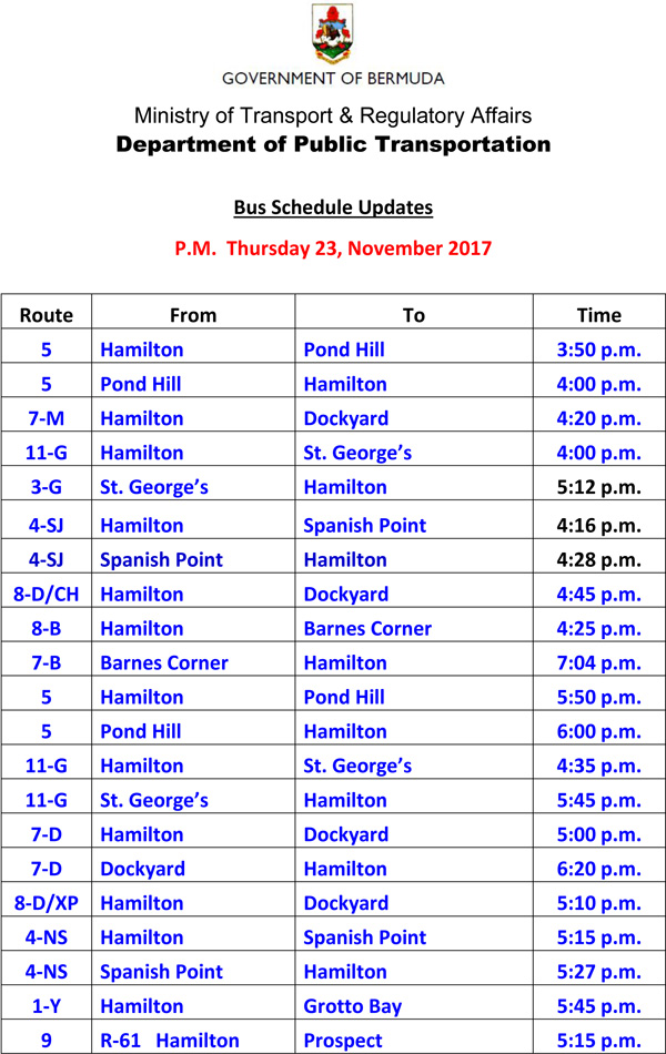 Bus Schedule Updates Thursday 23, November 2017-3