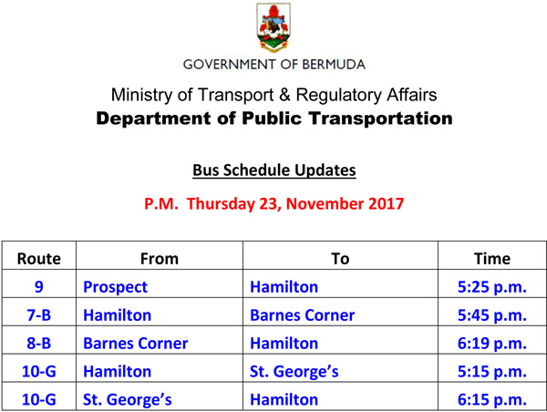 Bus Schedule Updates Thursday 23, November 2017-4