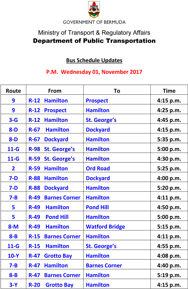 Bus Schedule Updates Wednesday 01-November -2017-1