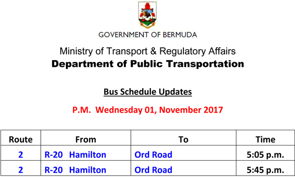 Bus Schedule Updates Wednesday 01-November -2017-2