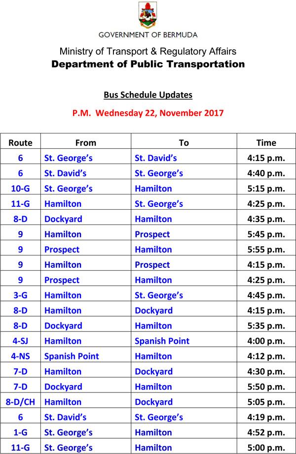Bus Schedule Updates Wednesday 22 November 2017-1