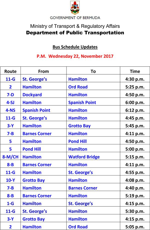 Bus Schedule Updates Wednesday 22 November 2017-2