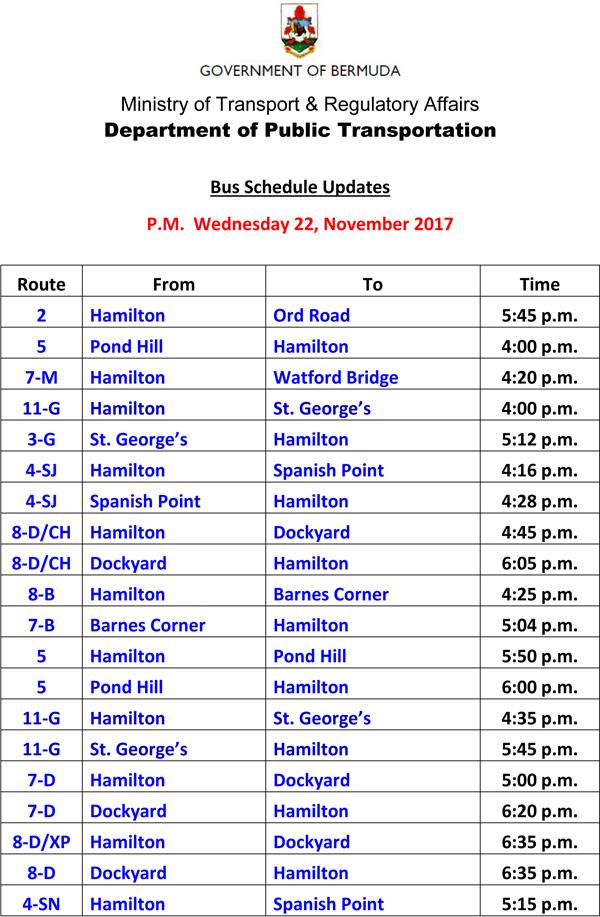 Bus Schedule Updates Wednesday 22 November 2017-3