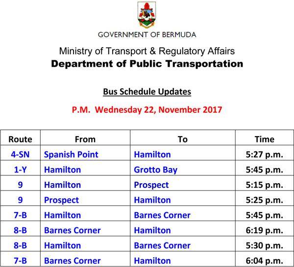Bus Schedule Updates Wednesday 22 November 2017-4